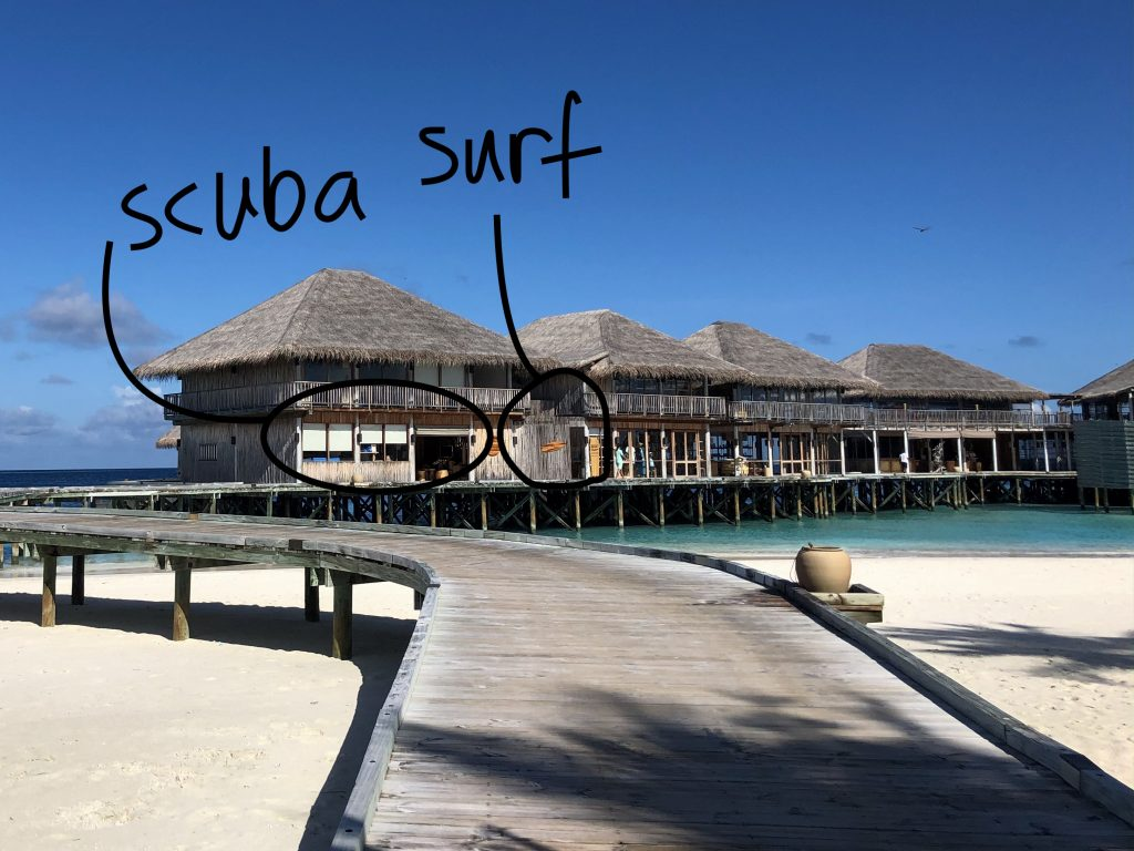 Scuba center and surf school at Six Senses Laamu